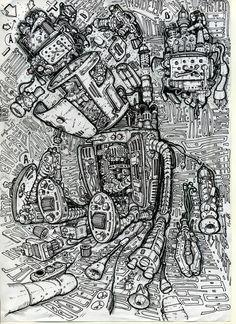 Robot art t_shirts drawings biomechanics robot damaged Робот. Биомеханика Стимпанк Дизельпанк. Автор Любимов Алексей/Autor Alexei Lubimov