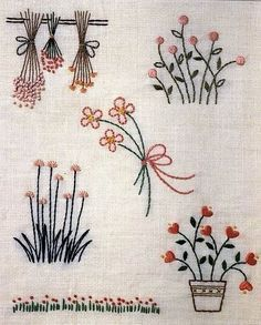 Hand Embroidery and Ribbon Embroidery: Hand embroidery patterns - Stickerei Ideen Hand Work Embroidery, Embroidery Flowers Pattern, Embroidery Bags, Simple Embroidery, Hand Embroidery Stitches, Hand Embroidery Designs, Machine Embroidery, Cross Stitch Embroidery, Contemporary Embroidery