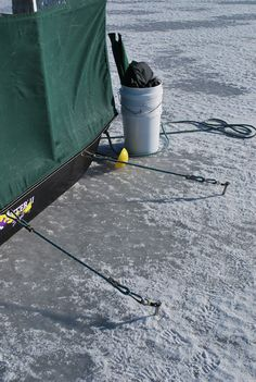 Anchor your shanty down on windy days Ice Fishing Shanty, Ice Fishing Sled, Ice Fishing Tips, Fishing Hole, Gone Fishing, Fishing Stuff, Ice Fishing Sonar, Ice Houses, Fish House