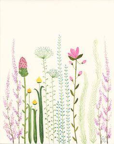 Garden original watercolor botanical flower painting by zuhalkanar