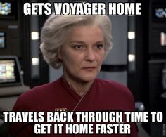 Full knowing that she wont be able to return. This is why I love Captain Janeway (well, technically admiral by this time).