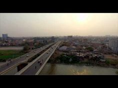 Beautiful Sky view of Phnom Penh city by drone 4K, Cambodia, 2015