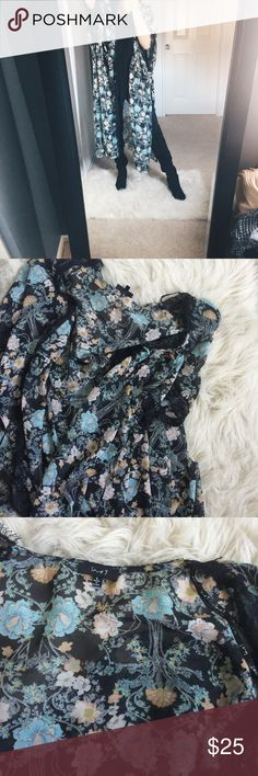 ✨Long Floral Kimono✨ Long floral kimono. Accents of black, pink and teal. Sheer material. Size small. But can fit medium as well. New without tags. Lace detailing. Other