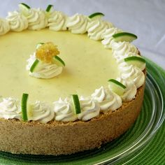 Frozen Key Lime Pie - a perfect cool summer dessert ... with a vanilla cookie crust and a little whipped cream folded in to lighten the texture ... doesn't freeze terribly hard, easy to cut, refreshing creamy finish.