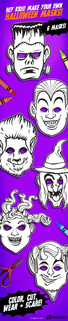 PRINTABLE PDF Monster Coloring Masks, kids paper halloween masks, DIY halloween costume, film monsters, great for Halloween parties for kids to color, devil, medusa, dracula, vampire, frankenstein monster, wolfman werewolf, witch, instant download, ZINGGIA!, Etsy $13