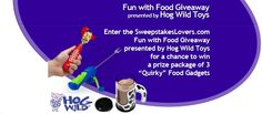 """Enter the SweepstakesLovers.com Fun with Food Giveaway presented by Hog Wild Toys for a chance to win a prize package of 3 """"Quirky"""" Food Gadgets from Hog Wild Toys !  All details at http://www.sweepstakeslovers.com/our-giveaways/sweepstakeslovers-com-fun-with-food-giveaway-presented-by-hog-wild-toys/"""