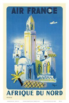 Air France: Afrique du Nord, Morocco, c.1949 Posters by Bernard Villemot - at AllPosters.com.au