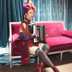 kitten w- accordion art bastille day  De Young Museum San Francisco  Paris is Burning Event  Corset and outfit  custom made by Monique Motil of Meow Haus- Looking Glass Costumes