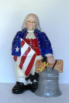 Treasure Craft Ben Franklin Cookie Jar of July. Cookie Containers, Antique Cookie Jars, Kinds Of Cookies, Mccoy Pottery, Ceramic Figures, Vintage Cookies, Benjamin Franklin, Ceramic Decor, Candy Jars