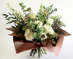 The Bethnal Green - a green and white hand-tied bouquet with a twist! Paper Flower Decor, Flower Decorations, Paper Flowers, Bouquet Wrap, Hand Tied Bouquet, Bethnal Green, Lush, Flower Arrangements, Florals