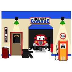 Dramatic play garage on pinterest mechanic garage for Cleveland gas station mural