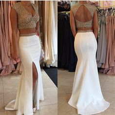 Two piece front split long prom dresses,deep v-neck white evening dresses on sale