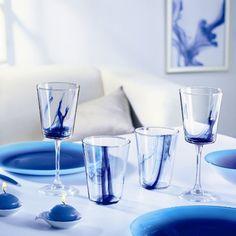 juego de platos y copas luminarc azul