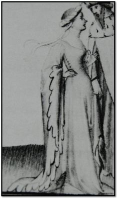"image labeled only ""c. 1411"" - no clue on the artist, where it comes from, anything. First time I've seen side-lacing depicted on this exact style of gown, though."