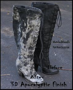 Post APOCALYPTIC BOOTS Black faux LEATHER Wastelander Boots FAllout 8.5 Zombie Boots Mad Max Boots Zombie Costume by WastelandWearable by WastelandWearable on Etsy