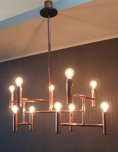 Vintage industrial copper pipe chandelier, elegant dining living or retail ceiling light fixture by CustomLightShop on Etsy https://www.etsy.com/listing/273952164/vintage-industrial-copper-pipe