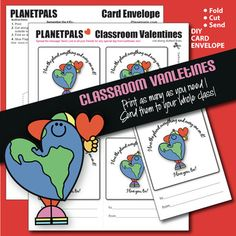 Greeting Card and Envelope and Clip Art Set. Color Cut ConstructKids Can Share Valetines With Everyone In The ClassroomLearn to construct a card and matching Envelope. Earth Friendly and Fun Earth Santa. Make Your Own Card and Envelope for the Valentines! Planetpals Eco Friendly Message for all ag...