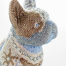 French Bruno by J. Swarovski, French Bulldog, Crochet Hats, Beanie, Butterfly, Bling, Sculpture, Crystals, Dogs
