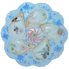 Antique Hand-Painted Porcelain Oyster Plate, Japan, 1880