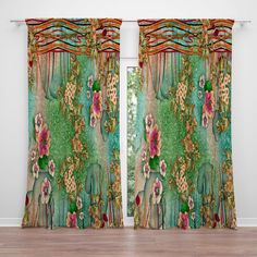 Boho Floral Sheer and Blackout Window Curtains - Bohemian Home Gypsy Bohemian Curtains, Diy Curtains, Bohemian Decor, Window Curtains, Funky Shower Curtains, Floral Curtains, Bohemian House, Curtain Fabric, Valance