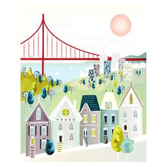 San Francisco Print Golden Gate Wall Art Skyline by lauraamiss