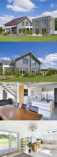 Ökohaus mit Satteldach Haus Pilhofer von Baufritz - Fertighaus Holzbauweise Fassade Holz