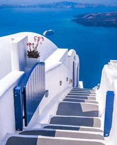 Credit to from ( - Stairway to Heaven ✨😍 📍 Santorini Have a great week 💙 ____ Miguel Angel, Travel And Tourism, Travel Tips, Best Small Camera, Wonderful Places, Beautiful Places, Stairs To Heaven, Nature Photography, Travel Photography