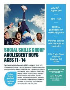 Social Skills Summer Camp for Adolescent Boys Charlotte, NC #Kids #Events