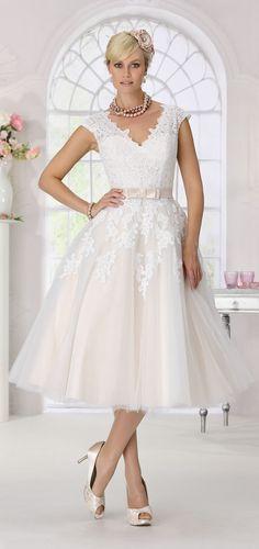 475c66ee24 Tea-length Tulle Beach Wedding Dress Short Short Sleeves V Neck Lace Bridal  Gown