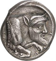 Tetradracma - argento - Gela, Sicilia ( 480-470 a.C.) Γ-E-Λ-AΣ - protome della divinità fluviale Gelas (Acheloo) come toro androcefalo, vs.dx. - Berlin