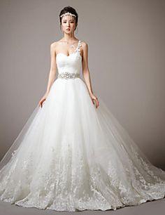 Princess One Shoulder Sweep/Brush Train Wedding Dress (Lace/Tulle)