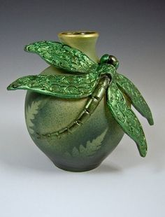 Bonnie Belt Studio Signed Dragonfly Bottle Wheel Thrown and Hand Sculpted Kintsugi, Bottles And Jars, Perfume Bottles, Dragonfly Art, Dragonfly Painting, Keramik Vase, Thrown Pottery, Pottery Art, Pottery Ideas