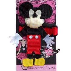 Mickey Mouse Ribbon Sculpture Hair Clip