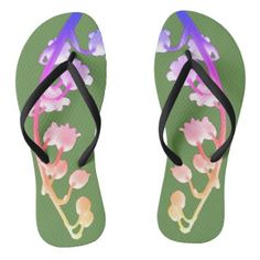 #Multi Colored Abstract Motif Flip Flops - #womens #shoes #womensshoes #custom #cool