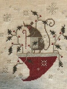 completed cross stitch With Thy Needle And Thread Christmas Merry Mouse Xmas Cross Stitch, Cross Stitching, Cross Stitch Patterns, Knitting Patterns, Everything Cross Stitch, Hardanger Embroidery, Theme Noel, Christmas Cross, Natural Linen