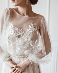 with custom lace and long sleeve with shimmery and pearl details dresses 2020 indian Tender laced long sleeve wedding dress Long Wedding Dresses, Bridal Dresses, Wedding Gowns, Modest Wedding, Wedding Dress With Pearls, Long Sleeve Wedding Dress Boho, Bouquet Wedding, Pretty Dresses, Beautiful Dresses
