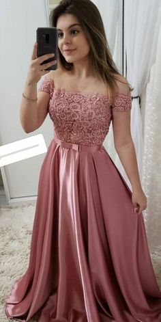 Off Shoulder Long Satin Lace Prom Dress with Beadings Custom Made Beaded School . - Off Shoulder Long Satin Lace Prom Dress with Beadings Custom Made Beaded School Dance Dresses Fahion Long Graduation Party Dresses Source by amel_fahmi - Fancy Prom Dresses, Grad Dresses, 15 Dresses, Formal Evening Dresses, Ball Dresses, Pretty Dresses, Homecoming Dresses, Teen Graduation Dresses, School Dance Dresses
