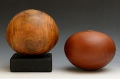 Gordon Browning | Wood; Gordon makes lathe-turned, blind-hollowed vessels. Each piece is turned from a single log which means there are no segments, lids, or bases. He likes full-bodied curves that respect the grain and hint at the log beneath.  #artbyhand Philadelphia Museum of Art Craft Show