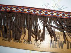 """Hippy Boho Tribal Ribbon Fringe trim 2"""" wide faux suede brown fringe & orange blue white ribbon retro yards yardage crafts costume by kabooco on Etsy"""