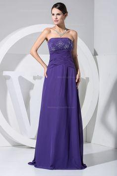 Beautiful strapless A-line floor-length chiffon dress