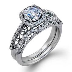 Shop online SIMON G MR2295 Halo 18K - White Gold Diamond Engagement Ring at Arthur's Jewelers. Free Shipping