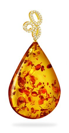House of Amber - Cognac teardrop amber pendant with gold hook and diamonds.