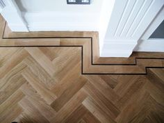 Istoria solid parquet oak herringbone wood floor with double wenge border- Jordan Andrews Hall Flooring, Solid Wood Flooring, Timber Flooring, Parquet Flooring, Hardwood Floors, Flooring Ideas, Concrete Floors, Laminate Flooring, Parkay Flooring