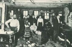 Sweatshop in the Maxwell St neighborhood, 1900, Chicago. Looks like a fun place to work. Darcie Cohen Fohrman Collection.