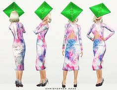 Christopher Kane Spring 2014 Dress and Shoes, Philip Treacy Neon Hat by ArtSims - Sims 3 Downloads CC Caboodle
