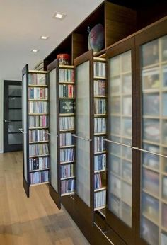 Awesome pull-out book-shelves