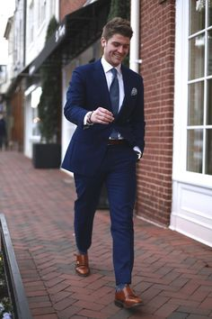 The New Blue  Navy and Grey are the basics. But what if you want something that looks more unique, all the while feeling familiar? That's where this lighter shade of blue fits into suiting. It's not so light that you can't wear it to the office, but you'll have just the pop of color you want against that sea of navy your coworkers will be wearing.  Shop our blue suits here