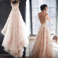 spaghetti straps wedding dress ,backless wedding dress ,pink tulle  bridal dresses,elegant wedding dress,beautiful bridesmaid dress,WD1799