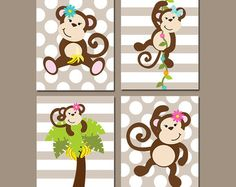 boy monkey wall art canvas or prints monkey nursery artwork bathroom jungle animal theme playroom polka dot set of 4 bedroom decor. Interior Design Ideas. Home Design Ideas