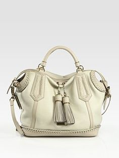 Burberry - Stitch-Trimmed Leather Satchel